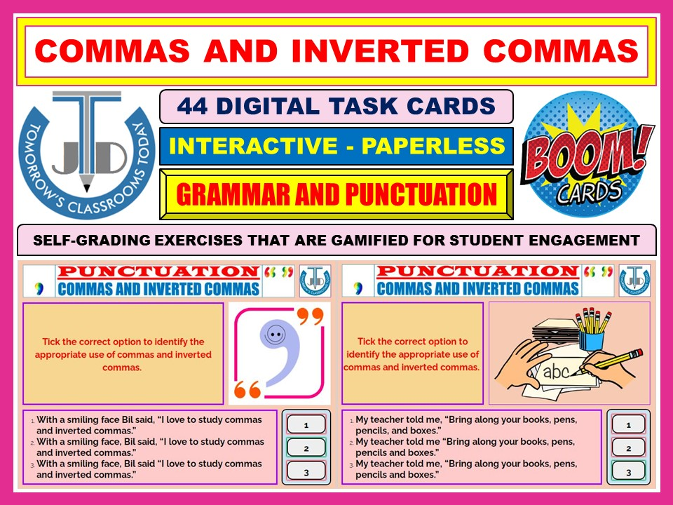 COMMAS AND INVERTED COMMAS - PUNCTUATION: 44 BOOM CARDS