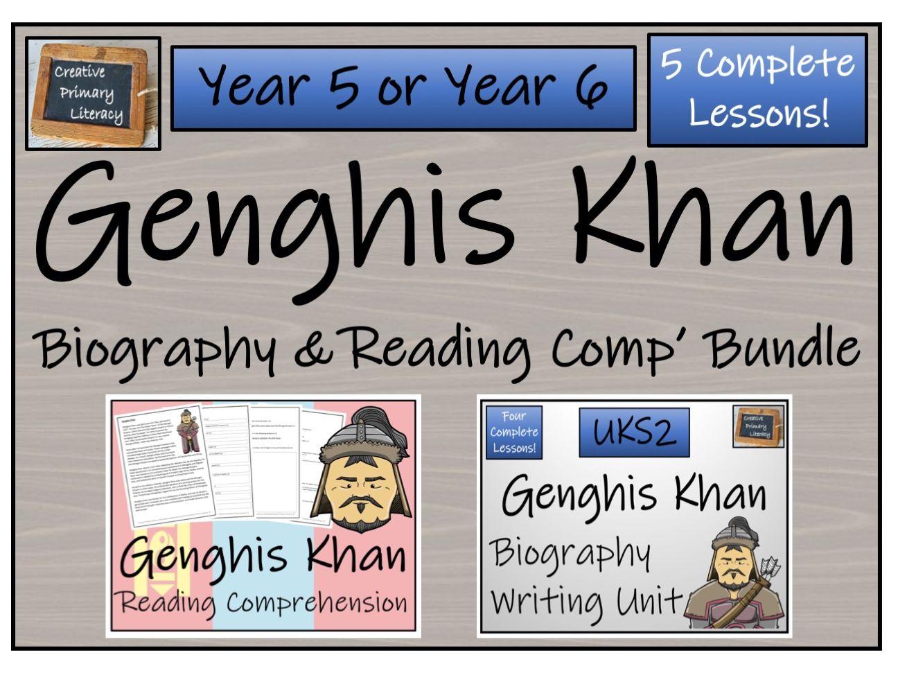 UKS2 History - Genghis Khan  Reading Comprehension & Biography Bundle