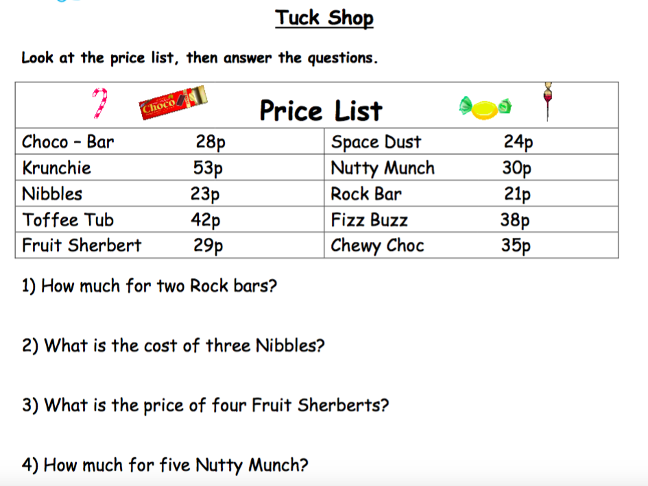 Money. Real Life Words Problems.  Tuck Shop