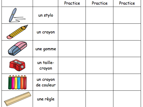 French Classroom Vocabulary : Revision Worksheet