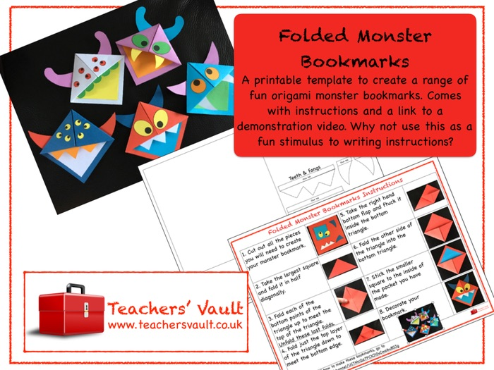 Folded Monster Bookmarks