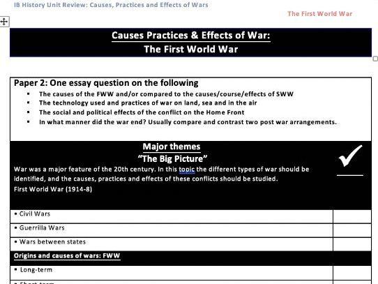 IB History FWW Unit Review