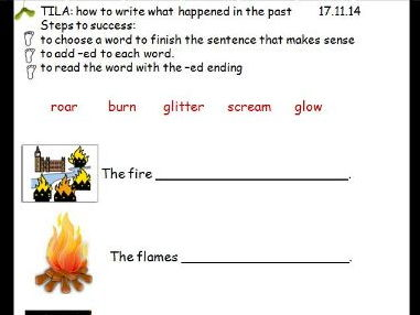 Great Fire of London -ed suffix to write verbs in the past tense- KS1- Year 1