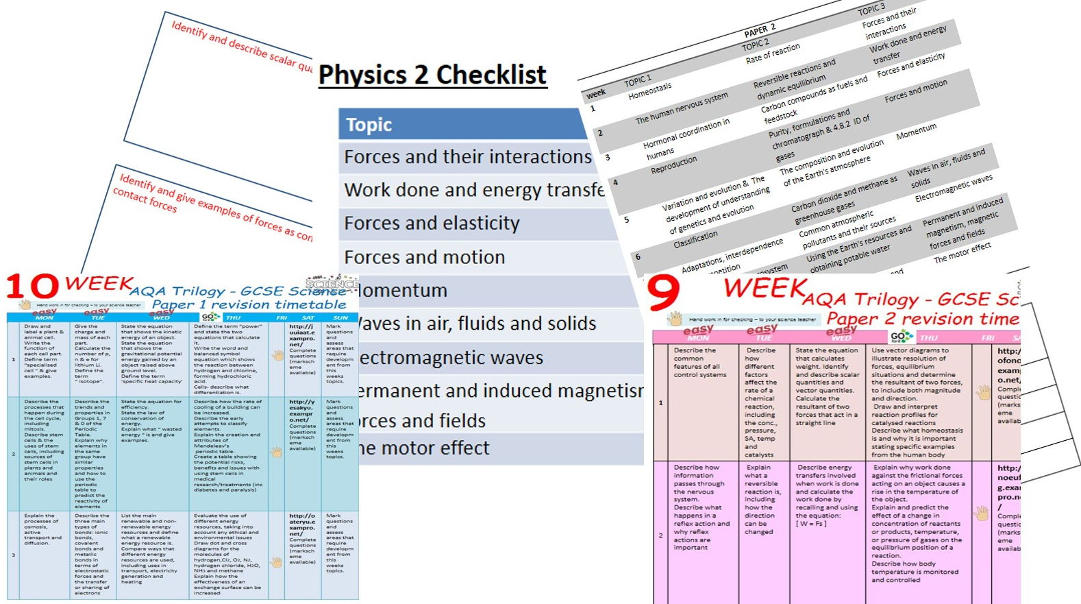 Revision timetable and booklets
