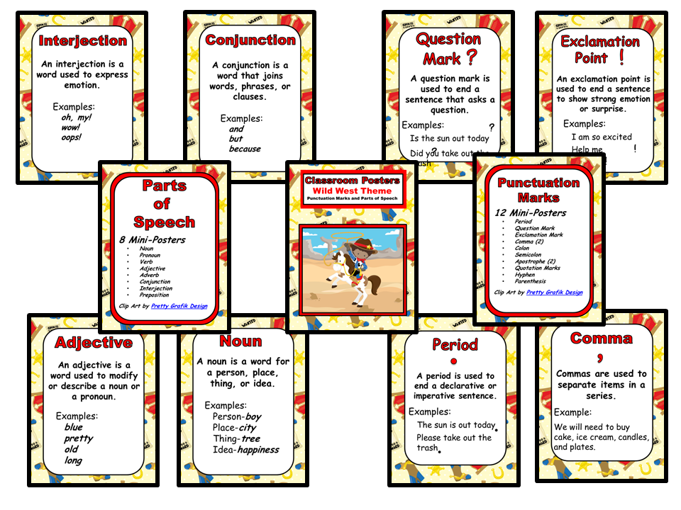 Classroom Mini-Posters - Wild West Theme