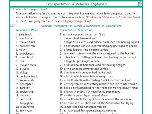 Transportation-Vehicles Explanation-Definitions