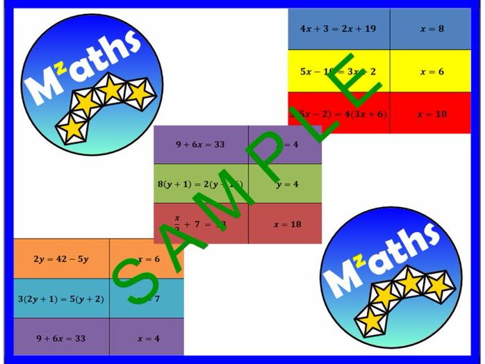 Solving Equations Revision Activity - Matching Up