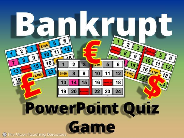 Bankrupt! PowerPoint Game (British Pounds £, Dollars $, and Euros €)