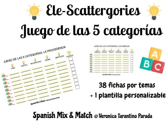 Scattergories theme-based templates for Spanish class