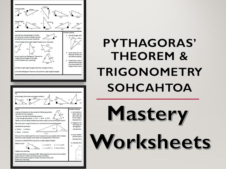 Pythagoras' Theorem and Trigonometry SOHCAHTOA Problem Solving Mastery Worksheets
