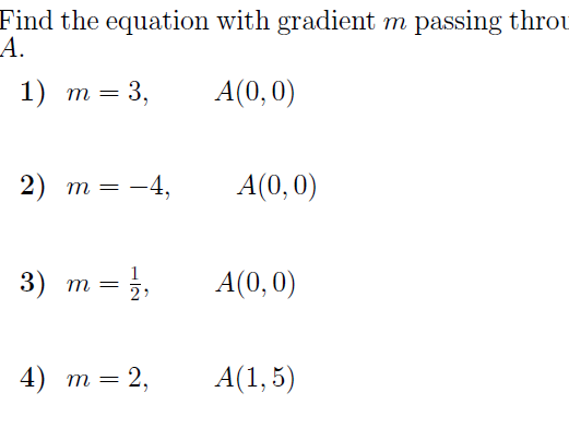 Equation of a  line  (various cases)  worksheets (with solutions)