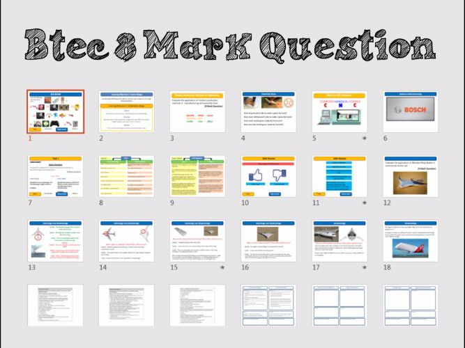 Btec Engineering Unit 1 exam revision 8 mark questions
