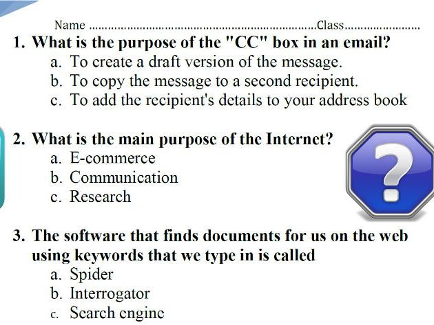 Quiz 20 ICT questions (easy-moderate) KS2-5