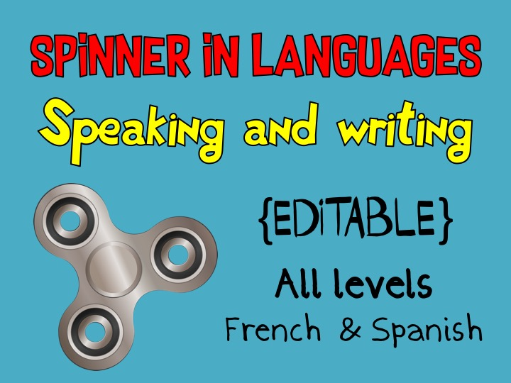Spinner in Languages - Speaking & Writing - French & Spanish - EDITABLE