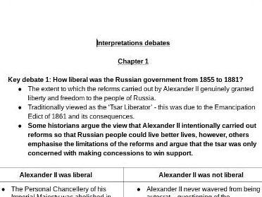 OCR A Level History - Russia and its rulers 1855-1964 INTERPRETATION DEBATES