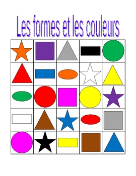 Couleurs et Formes (Colors and Shapes in French) Bingo game