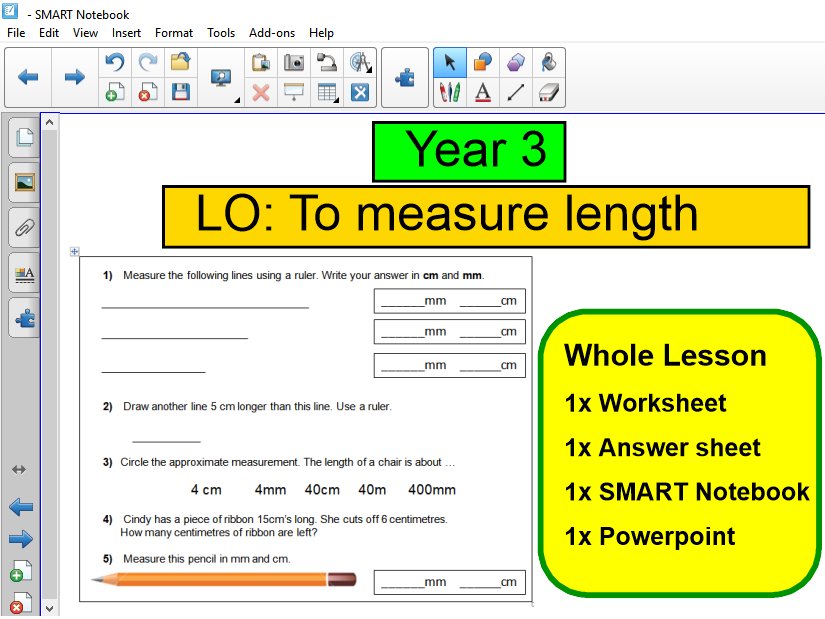 Year 3 - Measurement - measure length - WHOLE LESSON - notebook powerpoint