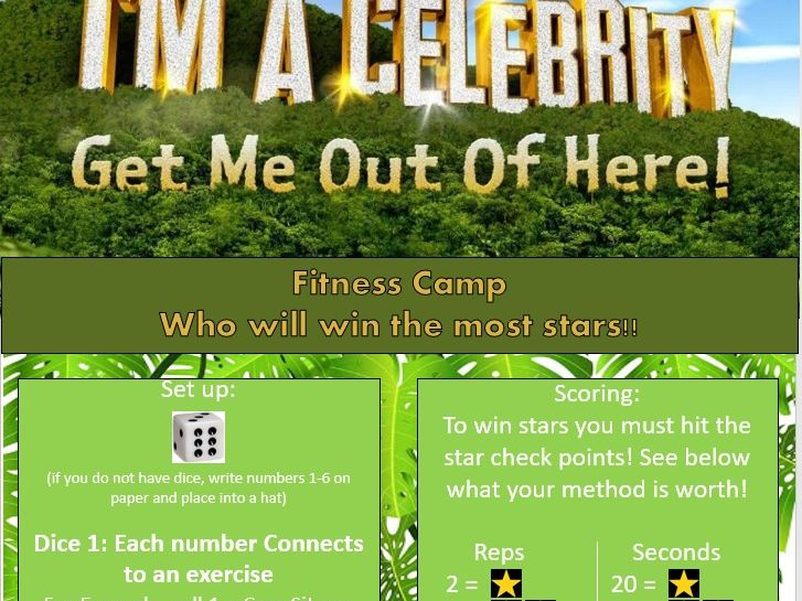 Fun Fitness lockdown family game I'm a celeb get me out of here