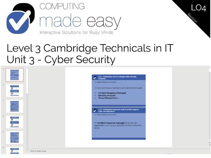 Cambridge Technicals IT Level 3 - Unit 3 LO4 Revision Cards