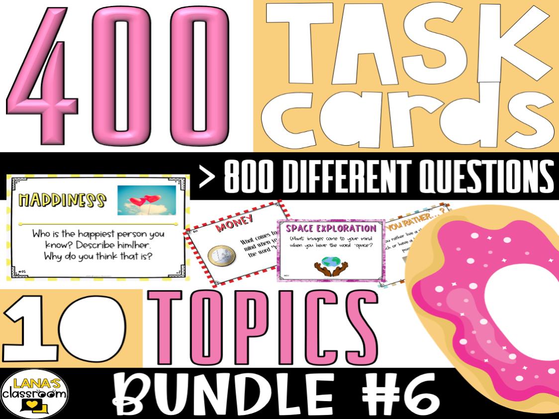 Conversation Starter Task Cards   BUNDLE#6   For Middle & High School