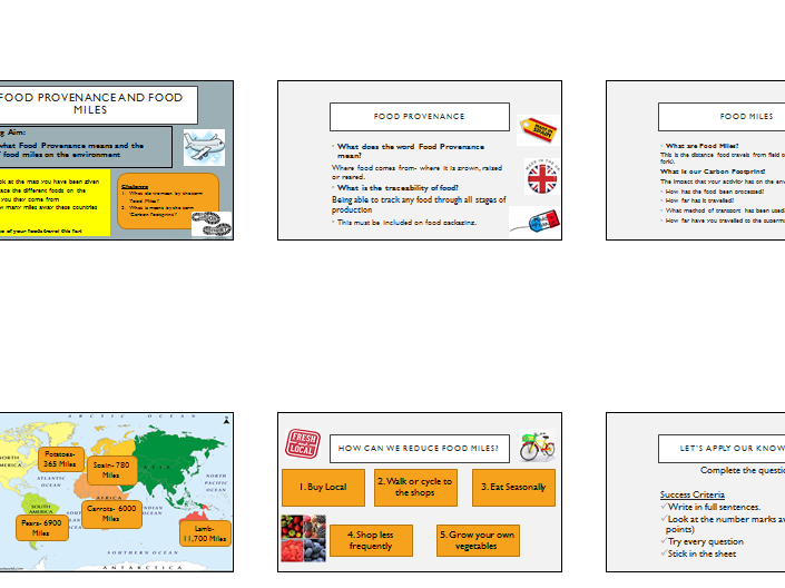 Food Provenance and Food Miles- Year 9