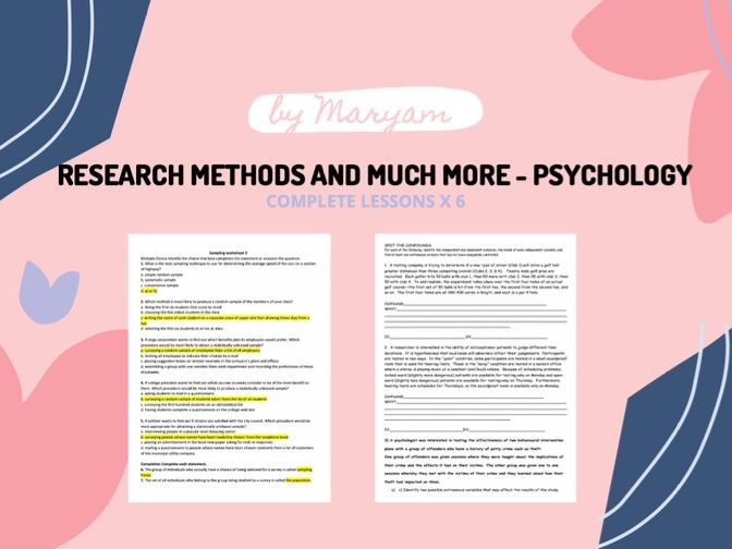 Research methods Complete lesson - Psychology