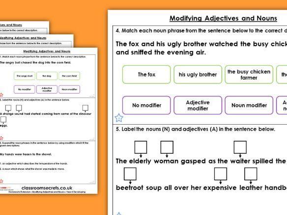 Grammar Year 4 Modifying Adjectives and Nouns Spring Block 3 Homework Extension