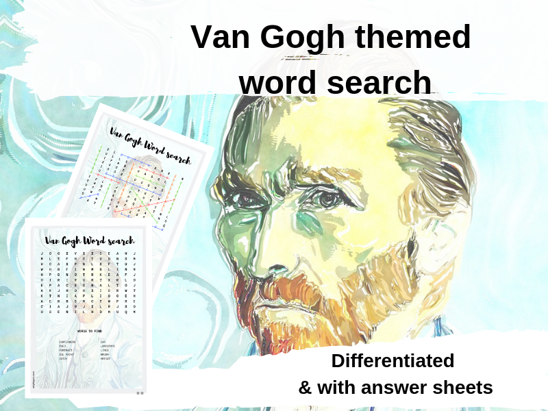 Differentiated Van Gogh themed word search