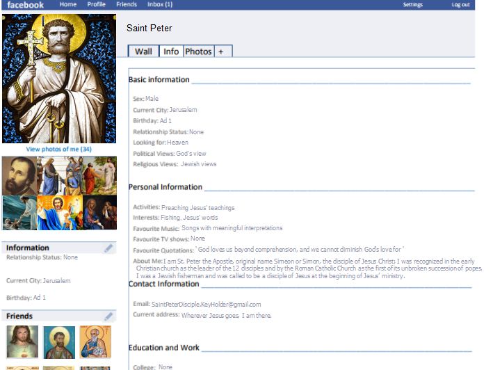 Facebook page for Saint Peter