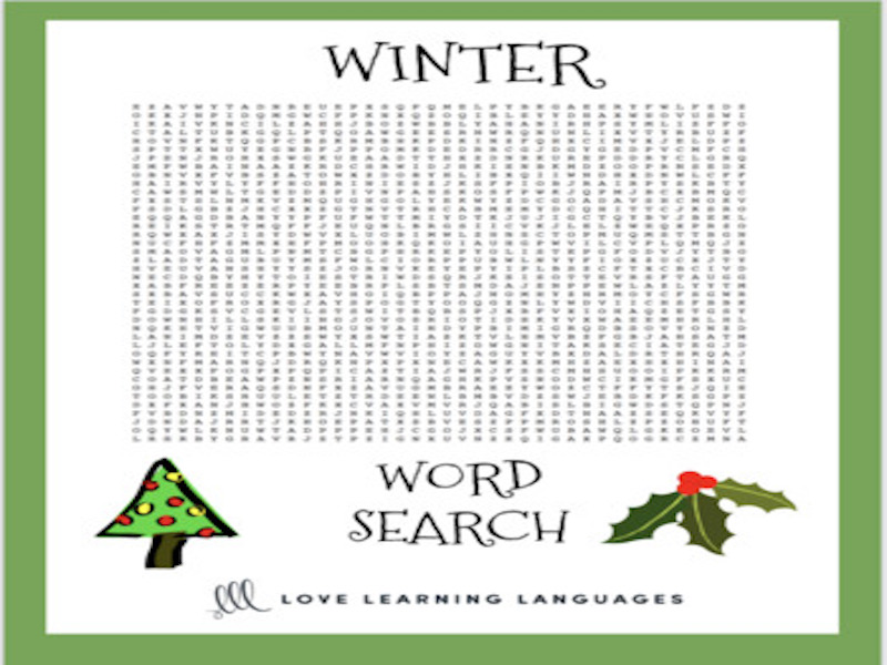 ESL-ELL Winter Vocabulary Word Search