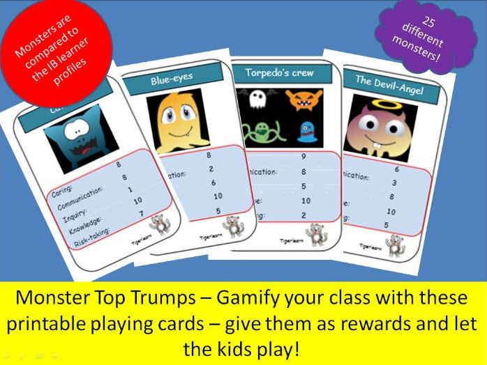 Monster top trump cards - Gamify your classroom with these IB linked monster cards