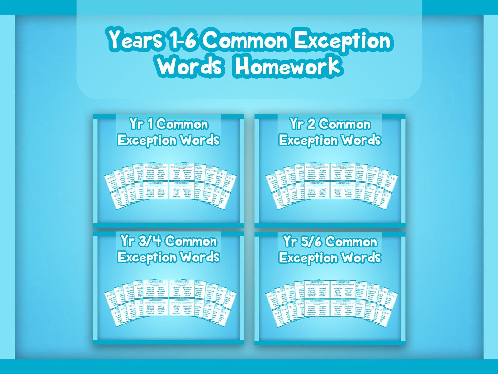 Years 1-6 Common Exception Words Homework