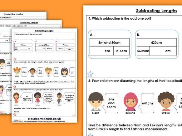 Year 3 Subtracting Lengths Spring Block 4 Maths Homework Extension