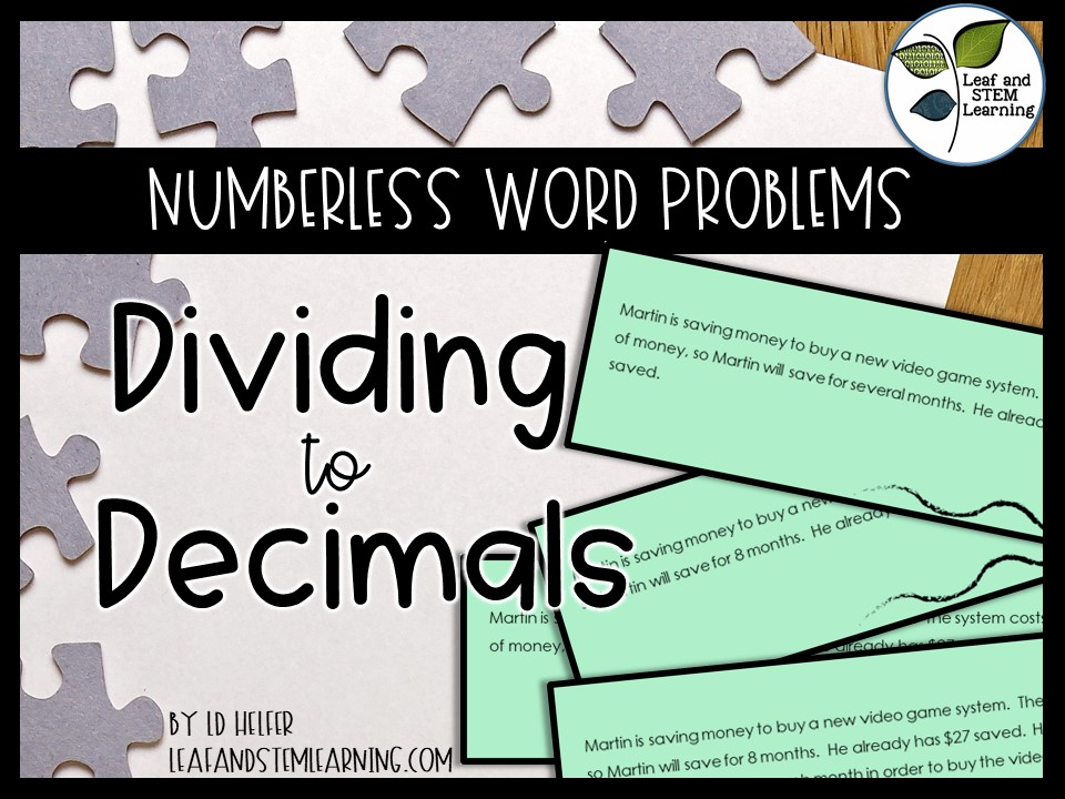 Dividing Decimals Multistep Problem Solving {Numberless Word Problems}