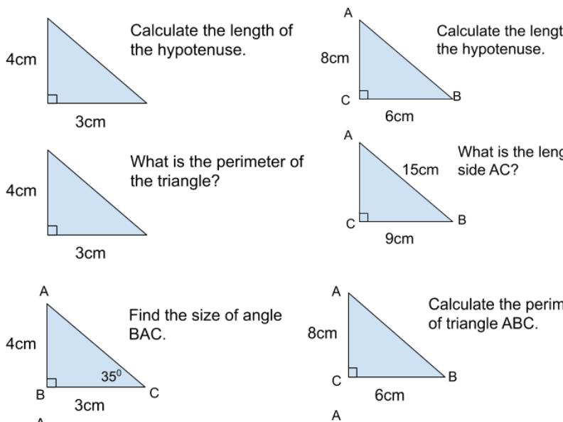 Pythagoras Questions / Mixed Topics / Method Selection
