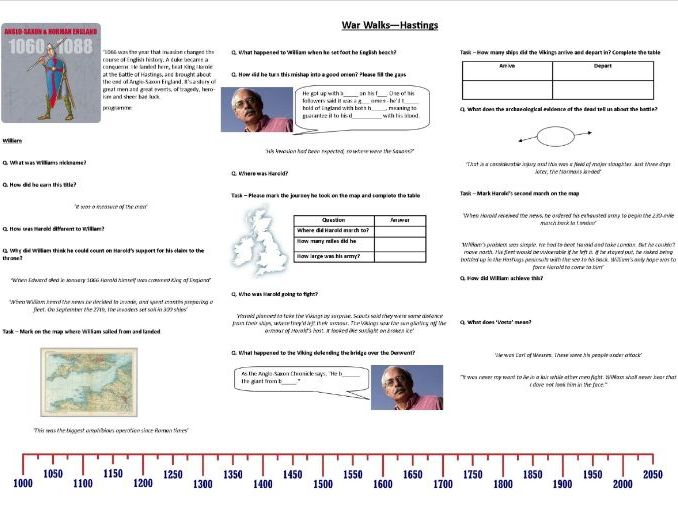War Walks - Hastings - Worksheet to support the BBC Documentary with Richard Holmes