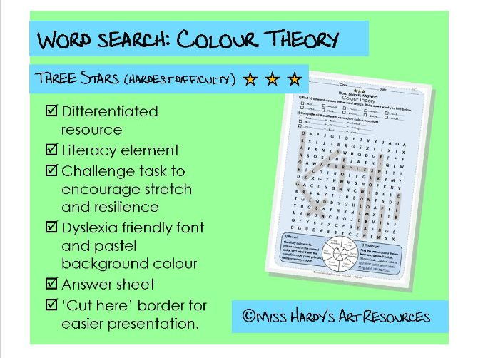 Art&Design - Colour Theory - Wordsearch - Hardest Difficulty - Starter/Plenary/Homework