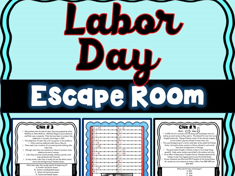 Labor Day Escape Room U S Holiday Facts No Prep