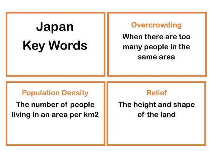 Geography Japan Key Words Flash Cards