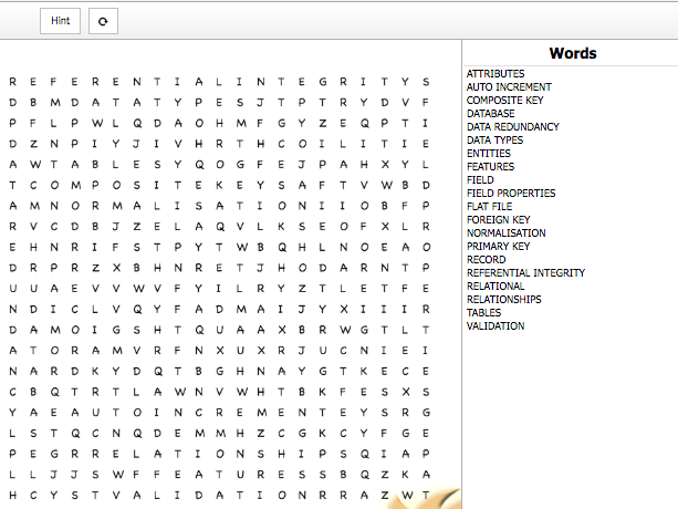 Database WordSearch (various formats)