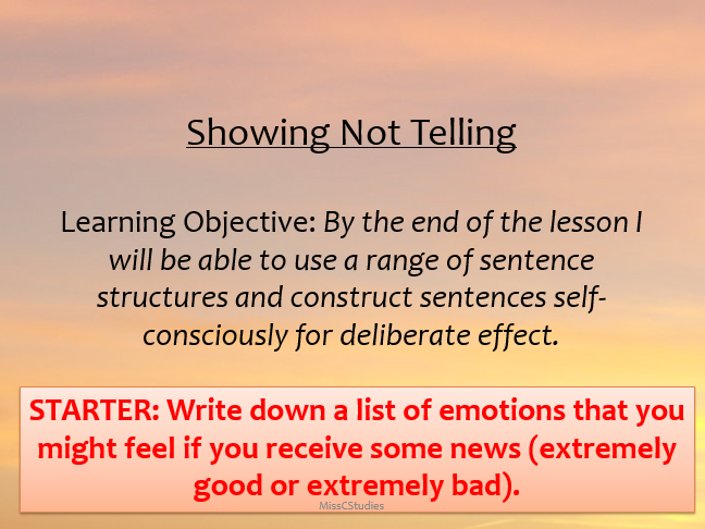 Showing Not Telling - Descriptive Writing