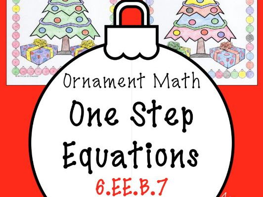 Christmas Math Surprise - One Step Equations NO Negatives Coloring Page