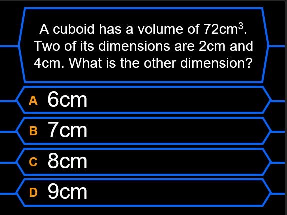 Who Wants to be a Millionaire? (Perimeter, Area and Volume)