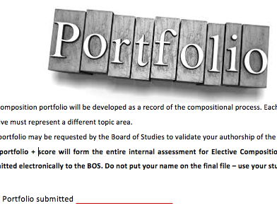 NSW HSC Music 1 Composition Portfolio template for students