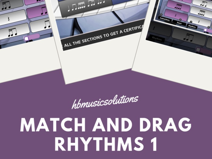 Match And Drag Music Rhythm 1 KS2 and KS3