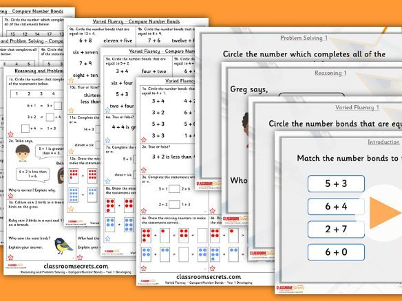 Year 1 Compare Number Bonds Autumn Block 2 Step 7 Lesson Pack