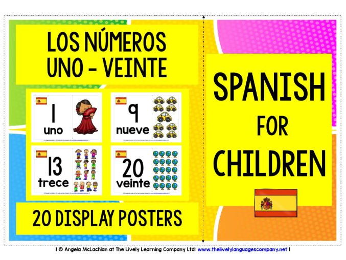 SPANISH FOR CHILDREN - NUMBERS 1-20 POSTERS / FLASHCARDS