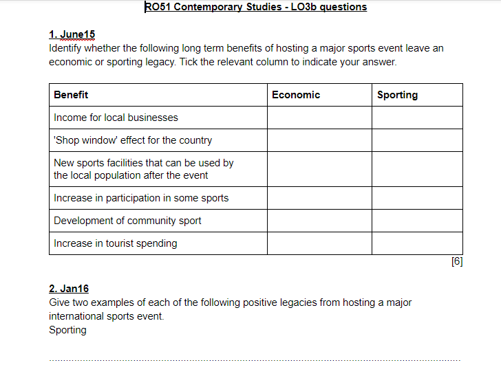LO3b questions and answers - OCR Cambridge National Sports Studies RO51