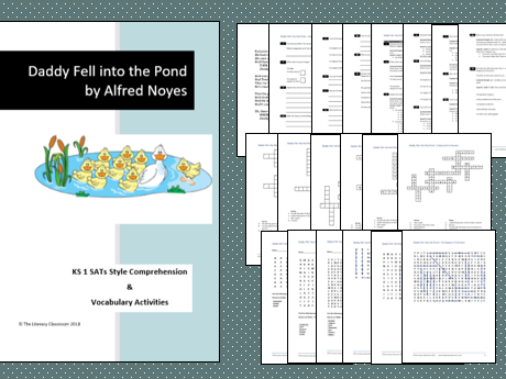 Daddy Fell into the Pond by Alfred Noyes. KS1 SATs style Comprehension and Vocab