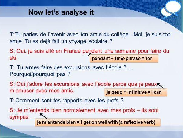 French GCSE Higher school role play